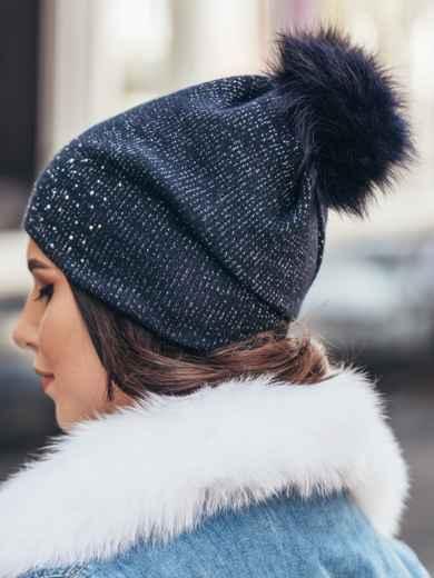 Темно-синяя шапка со стразами - 14720, фото 2 – интернет-магазин Dressa