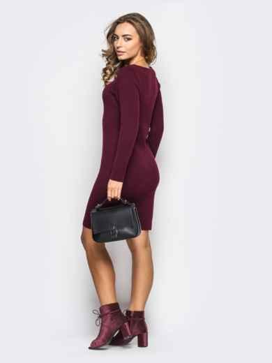 Вязанное платье-футляр с длинным рукавом бордовое - 13772, фото 2 – интернет-магазин Dressa