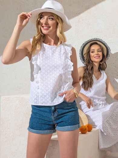 Белая блузка прямого кроя из прошвы с оборками по бокам 49101, фото 1