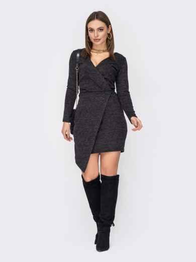 Приталенное платье графитового цвета с асимметричным низом 52806, фото 1