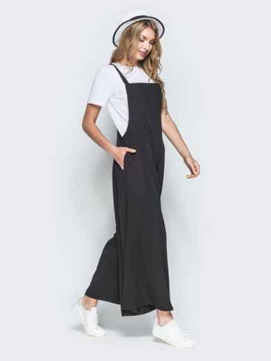 Комбинезон в стиле oversize с брюками-кюлотами чёрный 38464, фото 2
