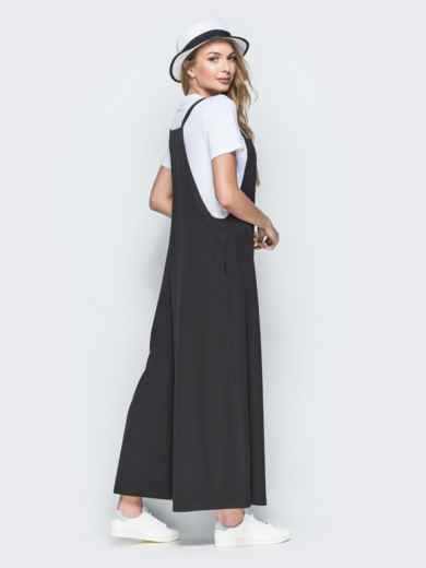 Комбинезон в стиле oversize с брюками-кюлотами чёрный 38464, фото 3