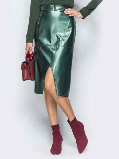 Кожаная юбка с поясом в комплекте зелёная - 17387, фото 1 – интернет-магазин Dressa