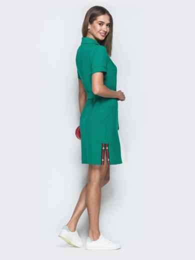 Льняное платье-рубашка в стиле casual зеленое - 38965, фото 2 – интернет-магазин Dressa