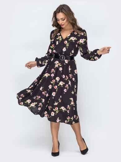 Платье с принтом и резинкой по талии чёрное - 45847, фото 1 – интернет-магазин Dressa