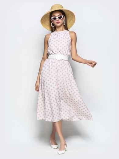 Пудровое платье в горох приталенного кроя с американской проймой 22073, фото 2
