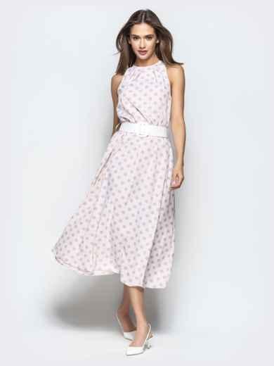 Пудровое платье в горох приталенного кроя с американской проймой 22073, фото 3