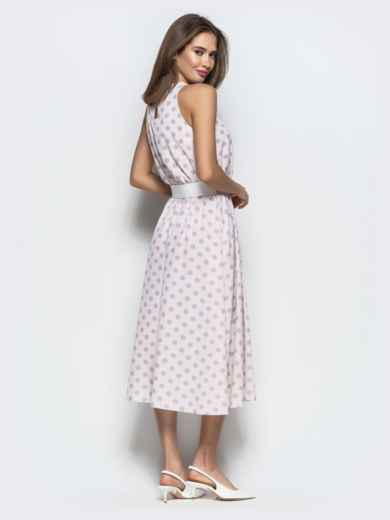 Пудровое платье в горох приталенного кроя с американской проймой 22073, фото 5