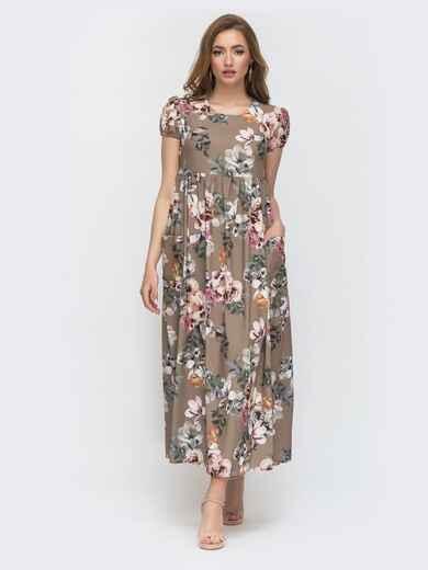 Расклешенное бежевое платье с цветочным принтом 47039, фото 1