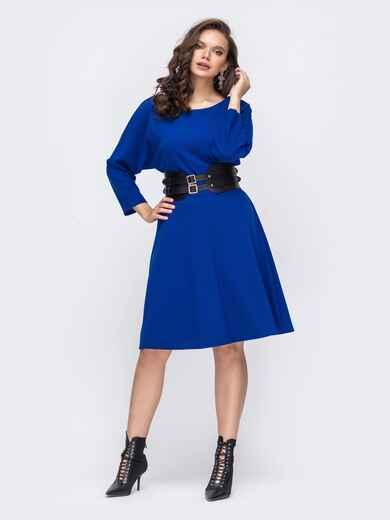 Расклешенное платье батал с цельнокроеным рукавом синее 51497, фото 1
