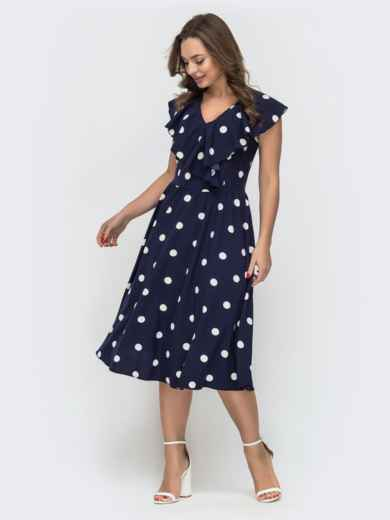 Расклешенное платье в горошек темно-синего цвета 47042, фото 2