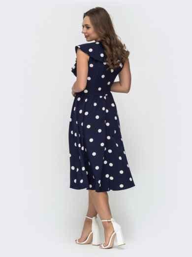 Расклешенное платье в горошек темно-синего цвета 47042, фото 3