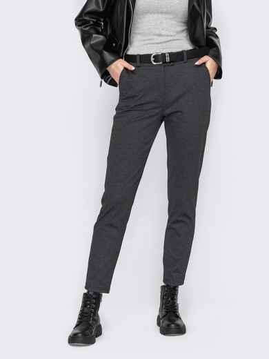 Серые укороченные брюки с карманами 53319, фото 1