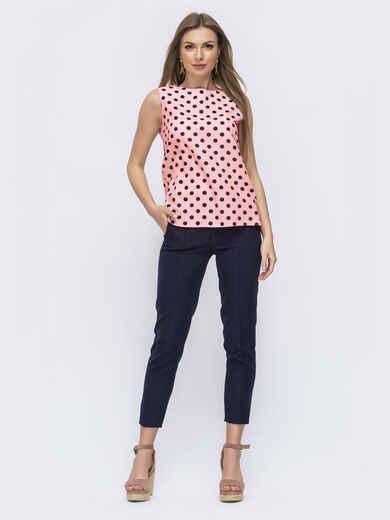 Темно-синий костюм с розовой блузкой в горох и брюк 54306, фото 1