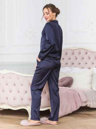 Тёмно-синяя пижама с рубашкой и брюками - 18952, фото 2 – интернет-магазин Dressa