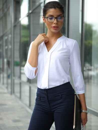 Блузка с V-образной горловиной и рукавом 3/4 10229, фото 1