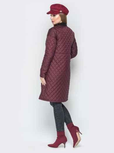 Бордовая куртка из плащевки с круглой горловиной - 19676, фото 2 – интернет-магазин Dressa