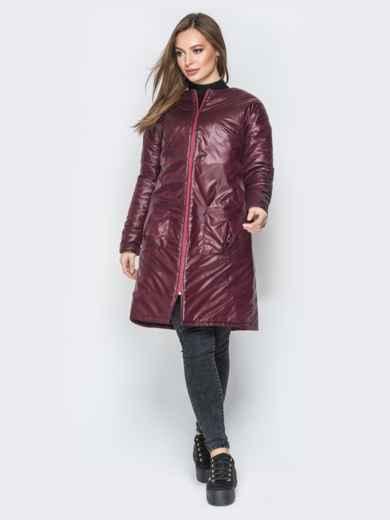 Бордовая куртка из плащевки с круглой горловиной - 19676, фото 3 – интернет-магазин Dressa