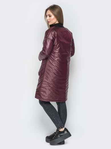 Бордовая куртка из плащевки с круглой горловиной - 19676, фото 4 – интернет-магазин Dressa