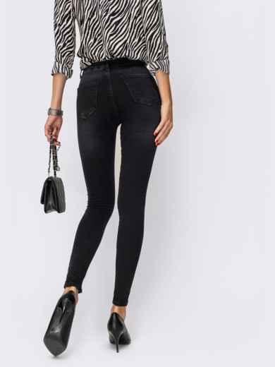 Джинсы-скинни чёрного цвета на молнии - 41936, фото 2 – интернет-магазин Dressa