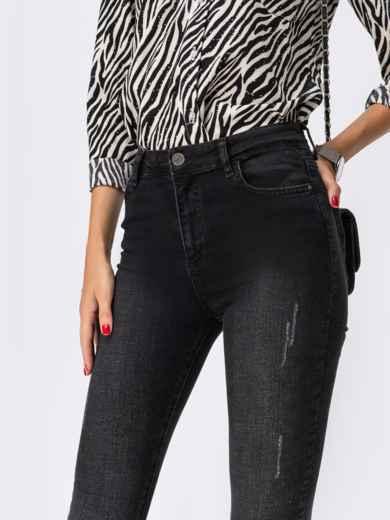 Джинсы-скинни чёрного цвета на молнии - 41936, фото 3 – интернет-магазин Dressa