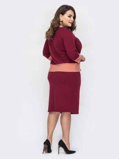 Комплект большого размера бордового цвета с юбкой 44482, фото 2
