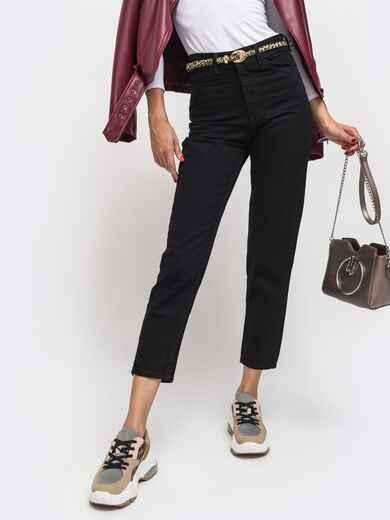 Осенние джинсы чёрного цвета с завышенной талией - 41935, фото 1 – интернет-магазин Dressa