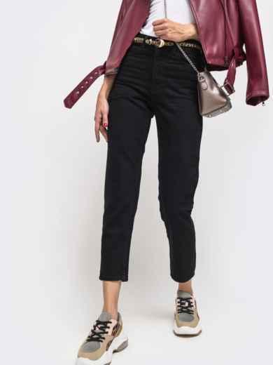 Осенние джинсы чёрного цвета с завышенной талией - 41935, фото 2 – интернет-магазин Dressa