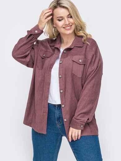 Свободная рубашка батал из вельвета фиолетовая 49828, фото 1