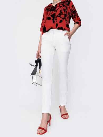 Зауженные брюки с завышенной талией белые 47433, фото 1