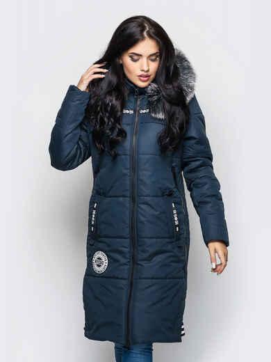 Зимняя куртка тёмно-синего цвета с мехом на капюшоне 15198, фото 1