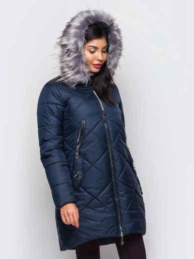 Зимняя куртка тёмно-синего цвета с отстегивающимся мехом - 15211, фото 2 – интернет-магазин Dressa