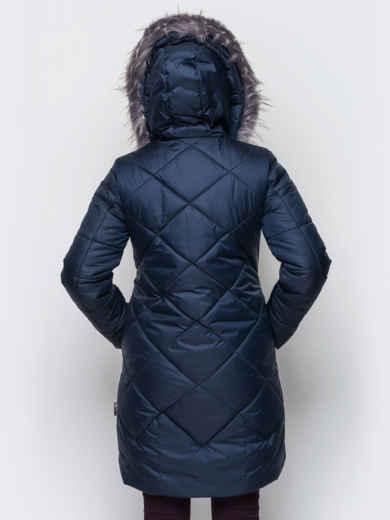 Зимняя куртка тёмно-синего цвета с отстегивающимся мехом - 15211, фото 3 – интернет-магазин Dressa