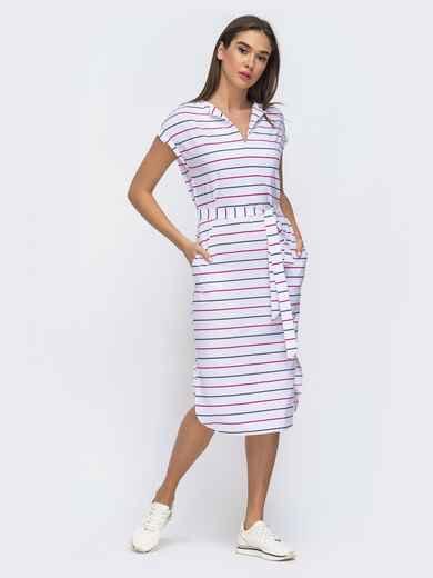 Белое платье прямого кроя с цельнокроеным рукавом 48273, фото 1