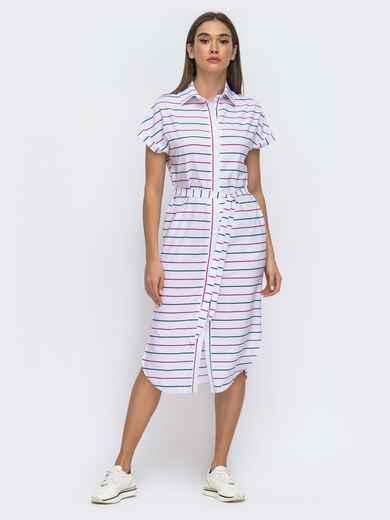 Белое платье-рубашка прямого кроя с цельнокроеным рукавом 48274, фото 1