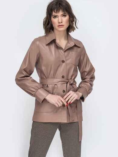 Бежевая куртка из эко-кожи с широкими рукавами - 44947, фото 1 – интернет-магазин Dressa