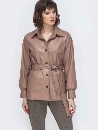 Бежевая куртка из эко-кожи с широкими рукавами - 44947, фото 2 – интернет-магазин Dressa
