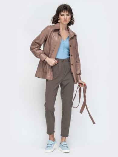 Бежевая куртка из эко-кожи с широкими рукавами - 44947, фото 5 – интернет-магазин Dressa
