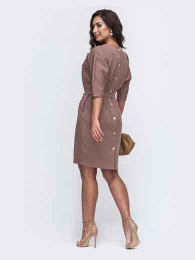 Бежевое платье батал с пуговицами сзади 49790, фото 2