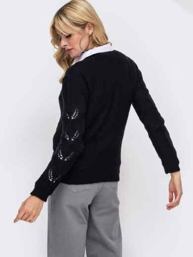 Черный вязаный джемпер с ажурной вязкой на полочке 50426, фото 2