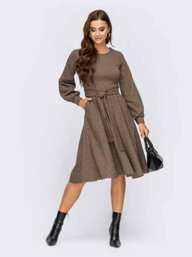 Бежевое платье в клетку с обьемными рукавами и юбкой клеш  55293, фото 1