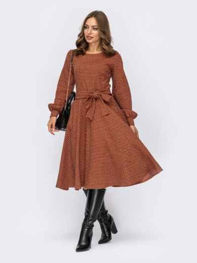 Терракотовое платье в клетку с юбкой клеш и поясом 55294, фото 1