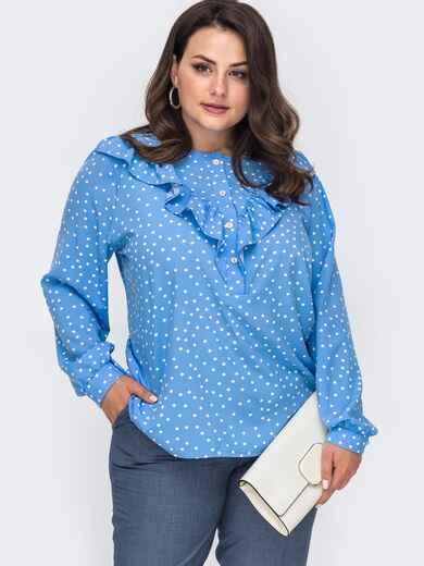 Голубая блузка в мелкий горох большого размера 49814, фото 1