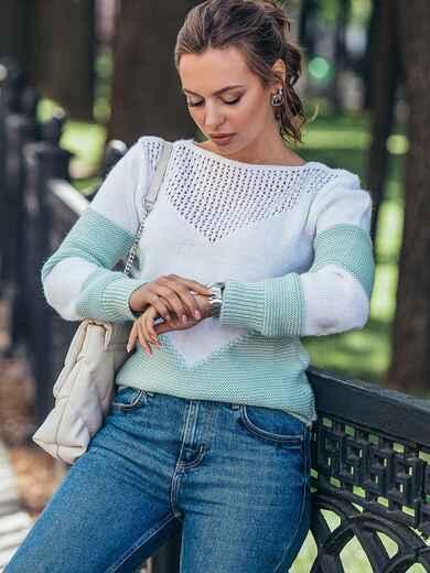 Мятный вязаный свитер с перфорацией 50421, фото 1