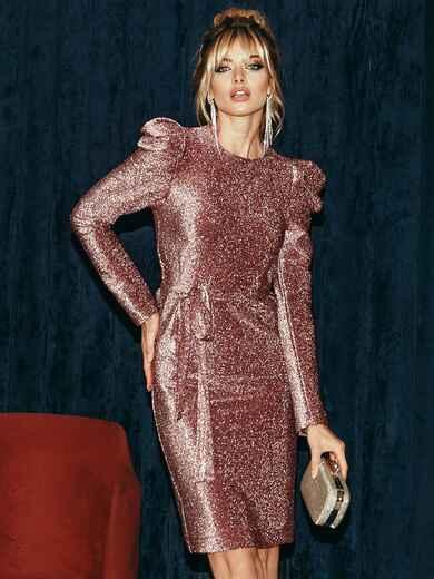 Платье-миди с люрексом и буфами на рукавах бордовое 51972, фото 1