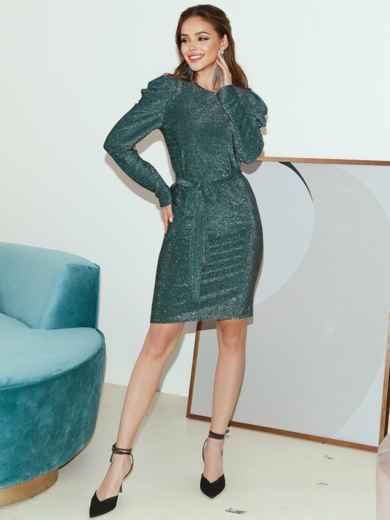 Платье-миди с люрексом и буфами на рукавах зеленое 51973, фото 4