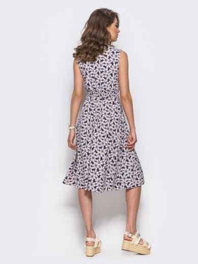 Платье на запах с цветочным принтом без рукавов пудровое - 11576, фото 3 – интернет-магазин Dressa