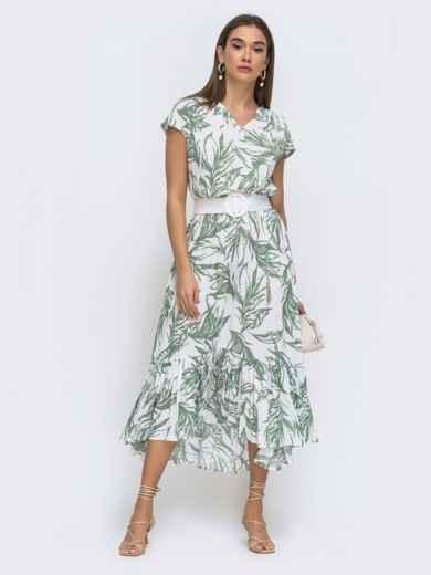 Принтованное платье-миди на фиксированный запах - 48275, фото 1 – интернет-магазин Dressa