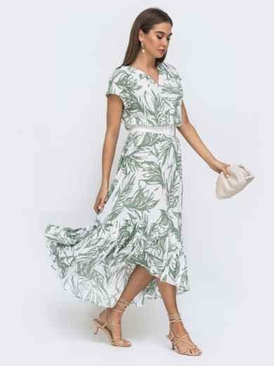 Принтованное платье-миди на фиксированный запах - 48275, фото 2 – интернет-магазин Dressa