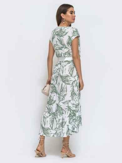 Принтованное платье-миди на фиксированный запах - 48275, фото 3 – интернет-магазин Dressa